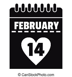 Valentines day calendar icon, simple style