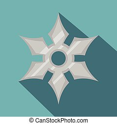 Shuriken weapon icon, flat style - Shuriken weapon icon....
