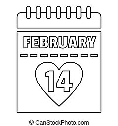 February 14 calendar icon, outline style - February 14...
