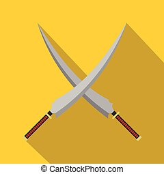 Two crossed Japanese samurai swords icon. Flat illustration...