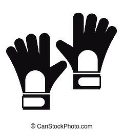 Gloves of goalkeeper icon, simple style - Gloves of...