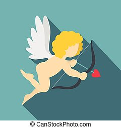 Amur or Cupid icon, flat style - Amur or Cupid icon. Flat...