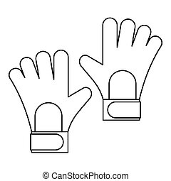 Soccer goalkeeper gloves icon, outline style - Soccer...