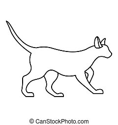 Cat icon, outline style - Cat icon. Outline illustration of...