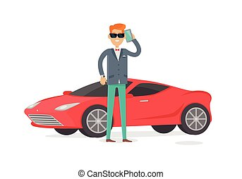 Rich Man in Expensive Suit Standing Near Coupe Car