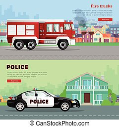 Fire Truck Driving to the and Police Car. - Fire truck...