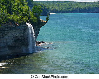 Spray Falls - Michigan UP - View of Lake Superior from the...
