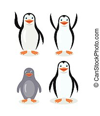 Funny Emperor King Penguins Set Isolated on White - Funny...