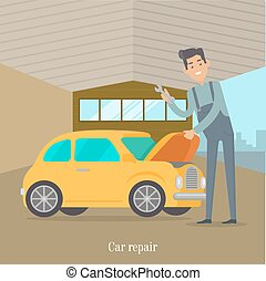 Man repair car. Car service illustration in flat style