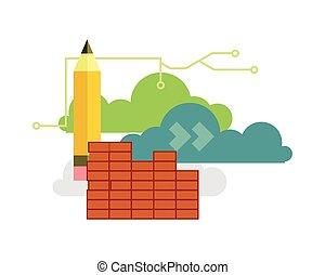 Solution Business Vector Set. Pencil, Cloud, Money