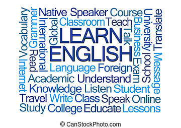 Learn English Word Cloud on White Background