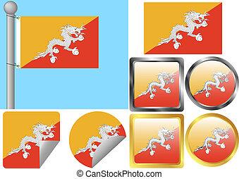 Flag Set Bhutan