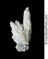 Mineral strontianite isolated on black - Collectible mineral...