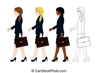 Set Cute Business Woman holding a Brief Case while Walking....