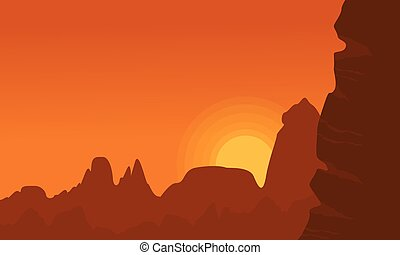 Illustration of cliff at sunset landscape