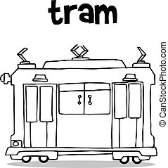 Transport of tram collection hand draw