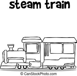 Steam train transport hand draw vector collection