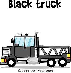 Transport of black truck vector illustration