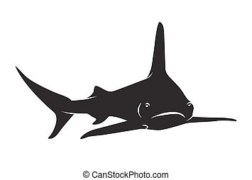 Shark vector silhouettes icon. - sharks silhuette icon...