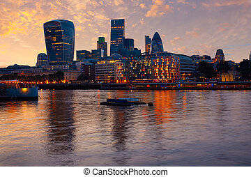 London financial district skyline sunset Square Mile England