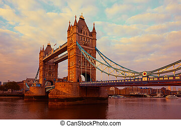 London Tower Bridge over Thames river sunset in England