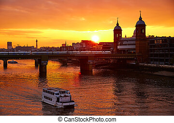 London sunset at Thames with St Paul Pauls Cathedral of...