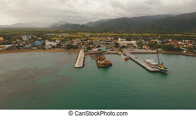 Cargo and passenger transit port aerial view .Catanduanes island, Philippines.