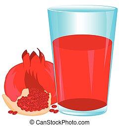 Juice from fruit garnet - Glass of juice from fruit garnet...