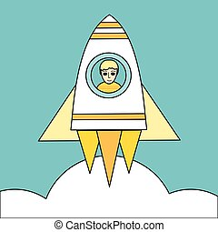 Space Rocket Launch Vector Concept in Flat Design. - Space...