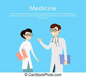 Medicine concept with health care experts characters. -...