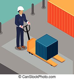 Warehouse Worker with Container on Forklift