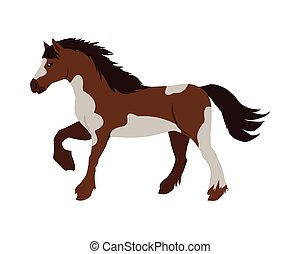 Horse Vector Illustration in Flat Design - Running pinto...