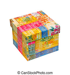 Colour box - Small gift box isolated included clipping path...