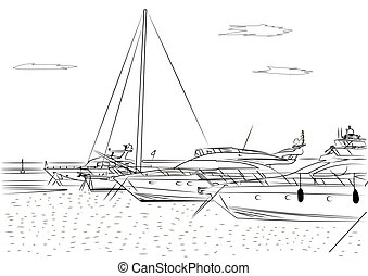 Sketch of white yachts in the port waiting. On the sea is...