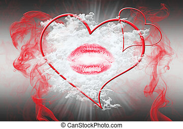 Heart and a Kiss With Red Smoke. Valentine's Day Concept 3D...
