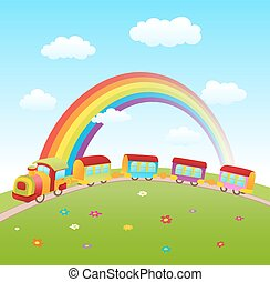 cartoon cute train on a hill with rainbow. vector illustraton
