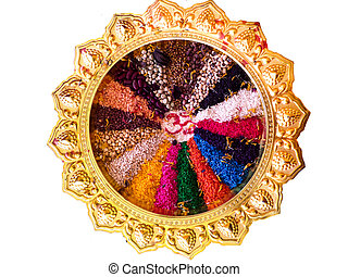 colorful of seed on luxury golden tray or salver worship...