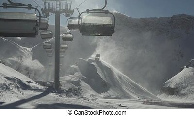 Strong wind storm chair lifts do not work on top of ski...