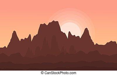 At sunrise cliff beauty landscape