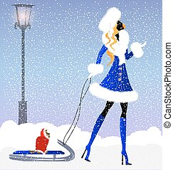 lady and snow
