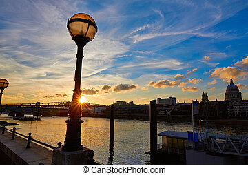 London sunset skyline with St Pauls in UK at dusk