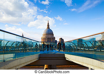 London St Paul Pauls cathedral from Millennium bridge on...