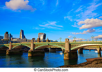 London Southwark bridge in Thames river UK