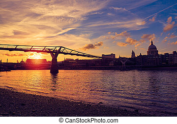 London Millennium bridge skyline UK - London Millennium...