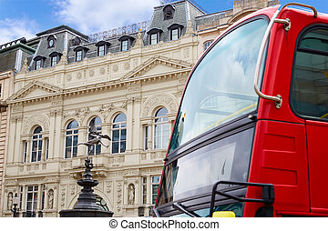 London Piccadilly Circus in UK - London Bus Piccadilly...