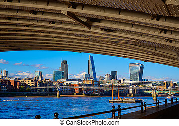 London skyline from Blackfriars new bridge UK - London...
