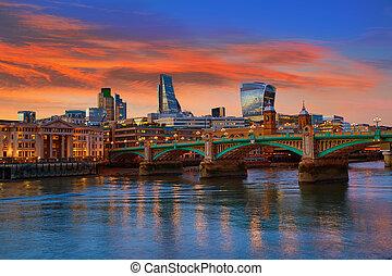 London skyline sunset Southwark bridge UK - London skyline...
