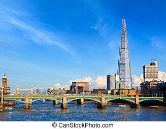 London Millennium bridge skyline in UK