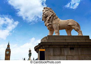London south Bank Lion statue near Thames - London south...