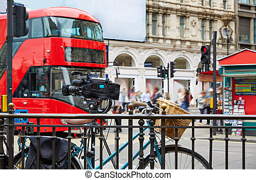 London Bus Piccadilly Circus in UK England